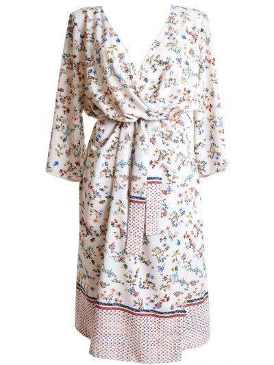 Midi kimono boho dress with flowers