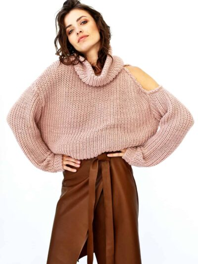 Milidiami pink sweater leather skirt