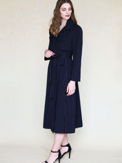 Navy coat with stripes lookbook
