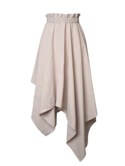 Asymmetric skirt in cream color packshot