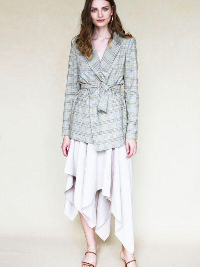 Asymmetric skirt jacket style