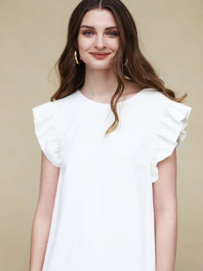 White midi dress with frills