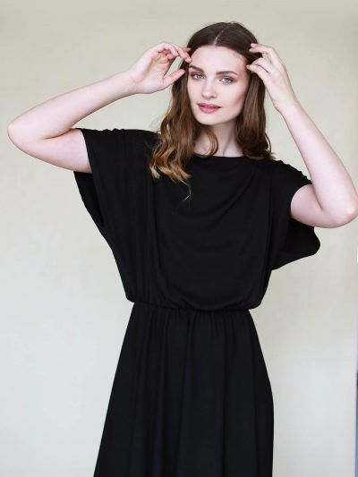 Black midi dress with irregular bottom