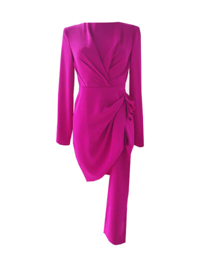 Fuchsia mini dress long sleeve