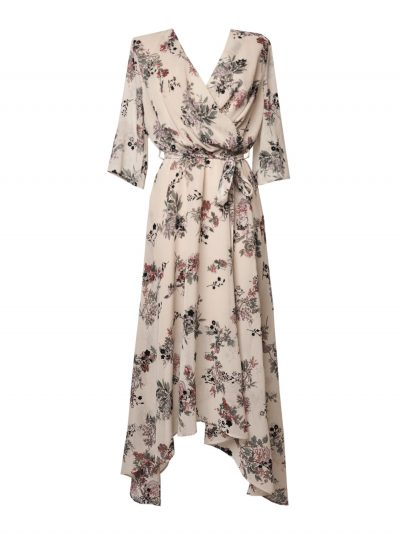 Chiffon dress with flowers with belt packshot