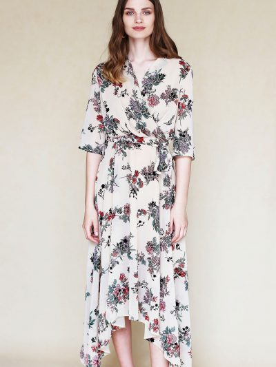 Chiffon dress with flowers with belt